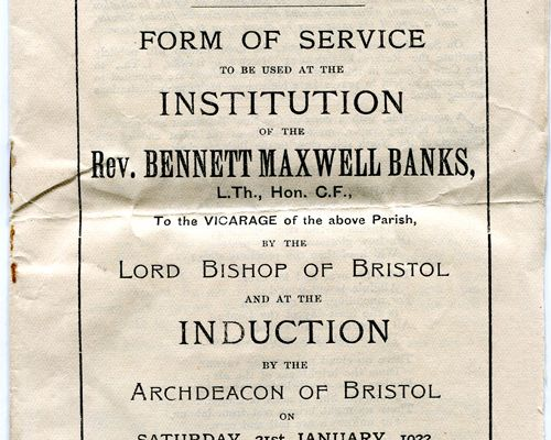 B M Banks Induction to St Silas Church Form of Service 1922